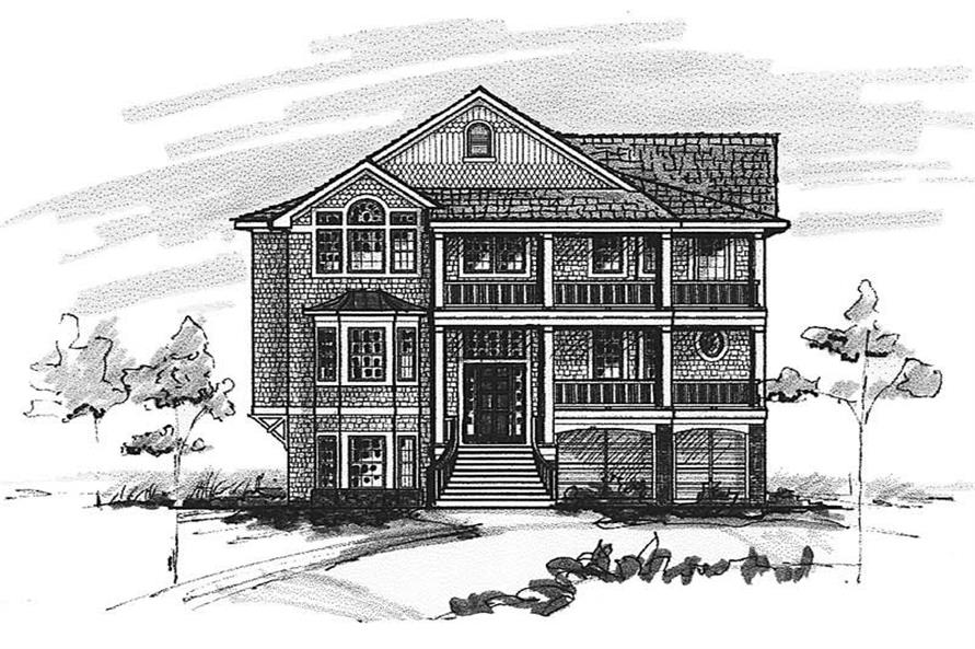 Home Plan Front Elevation of this 5-Bedroom,3403 Sq Ft Plan -130-1095