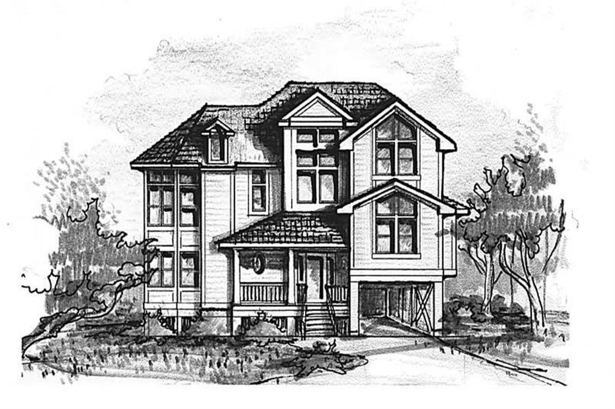 Home Plan Front Elevation of this 5-Bedroom,3085 Sq Ft Plan -130-1097