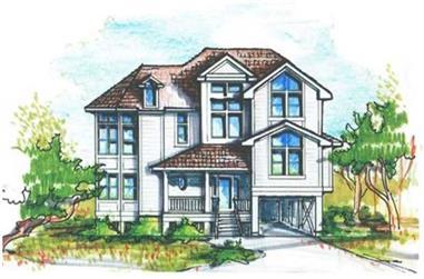 5-Bedroom, 3085 Sq Ft Coastal Home Plan - 130-1097 - Main Exterior