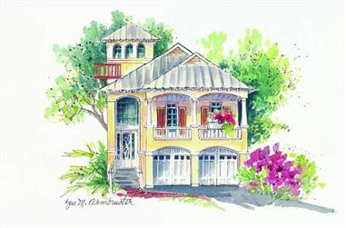 3-Bedroom, 2806 Sq Ft Coastal Home Plan - 130-1098 - Main Exterior
