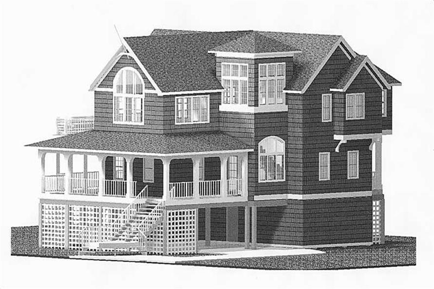 Home Plan Front Elevation of this 6-Bedroom,3022 Sq Ft Plan -130-1099