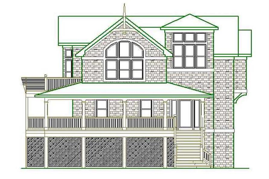 Home Plan Rear Elevation of this 6-Bedroom,3022 Sq Ft Plan -130-1099