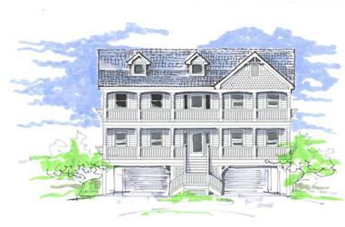 6-Bedroom, 2876 Sq Ft Coastal Home Plan - 130-1101 - Main Exterior