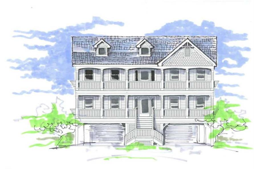 6-Bedroom, 2876 Sq Ft Coastal Home Plan - 130-1101 - Main Exterior
