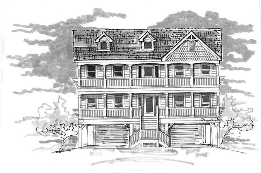 Home Plan Front Elevation of this 6-Bedroom,2876 Sq Ft Plan -130-1101