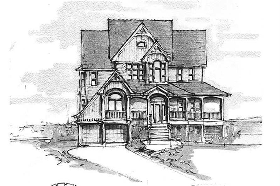 Home Plan Front Elevation of this 3-Bedroom,3692 Sq Ft Plan -130-1102