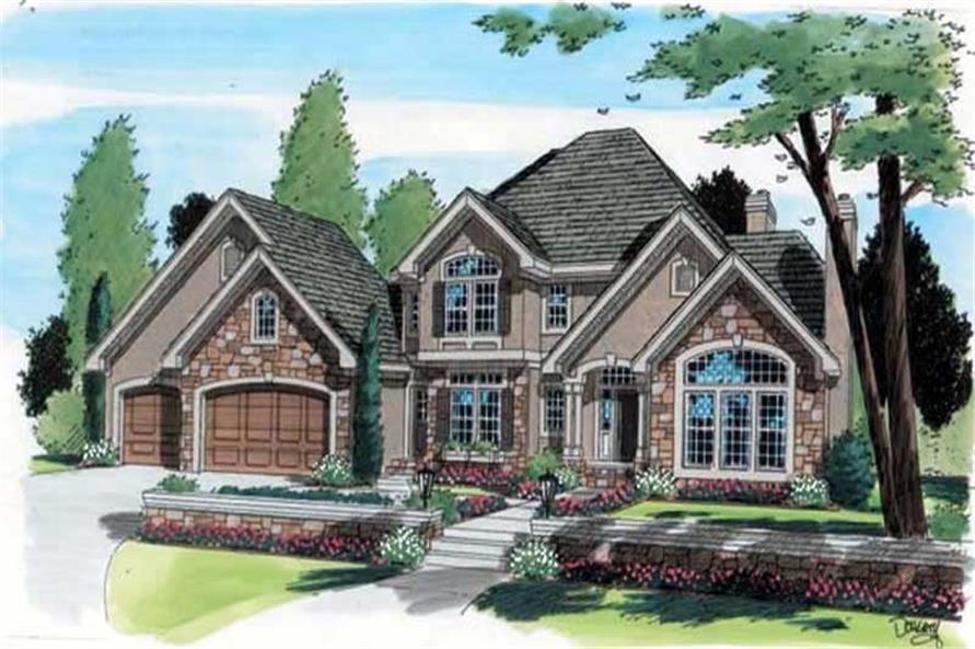 Home Plan Front Elevation of this 4-Bedroom,3526 Sq Ft Plan -131-1010