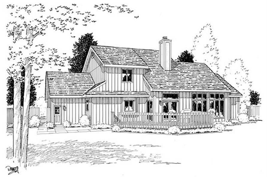 Home Plan Rear Elevation of this 4-Bedroom,2545 Sq Ft Plan -131-1011