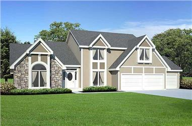4-Bedroom, 2545 Sq Ft Tudor House Plan - 131-1011 - Front Exterior