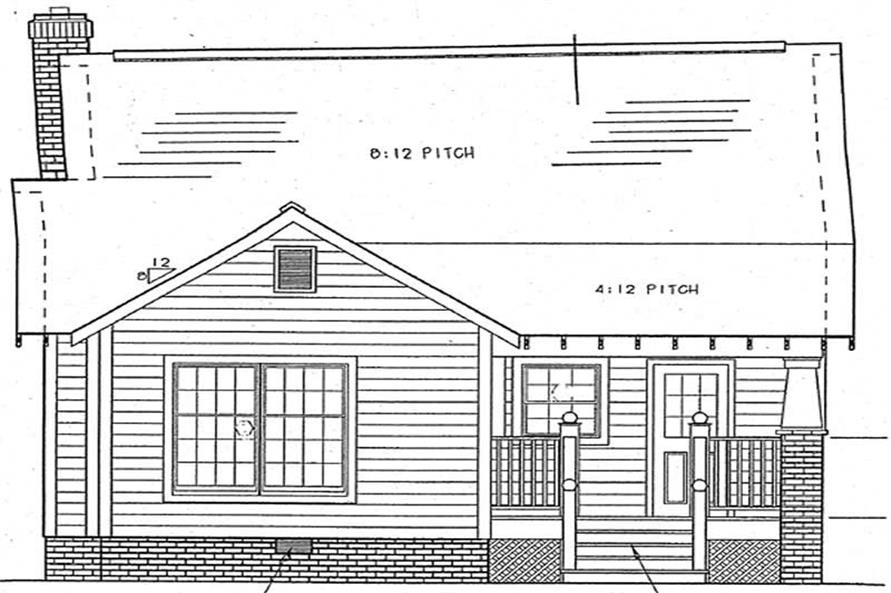 Home Plan Rear Elevation of this 3-Bedroom,964 Sq Ft Plan -131-1012
