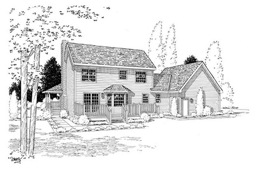Home Plan Rear Elevation of this 3-Bedroom,2083 Sq Ft Plan -131-1013