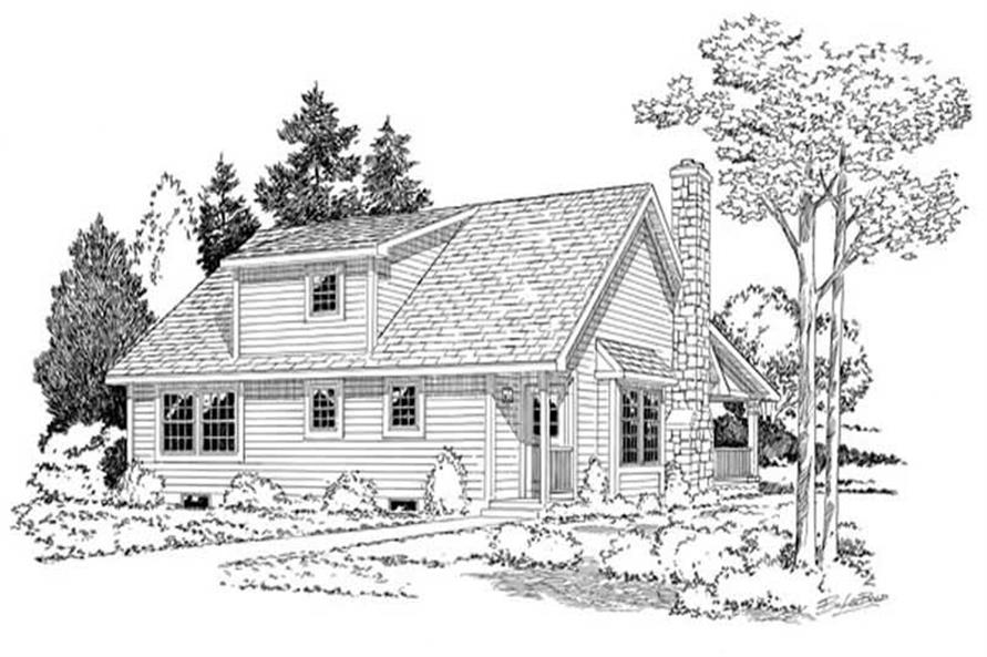 Home Plan Rear Elevation of this 3-Bedroom,1415 Sq Ft Plan -131-1017