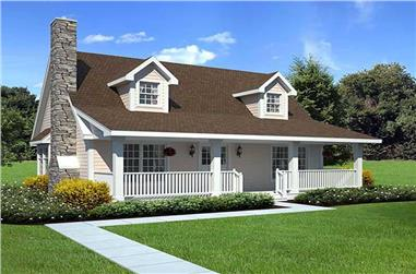 Front elevation of Cape Cod home (ThePlanCollection: House Plan #131-1017)