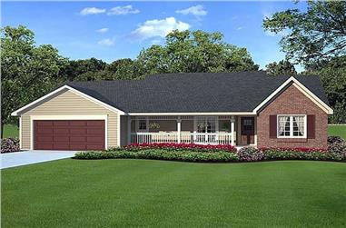 3-Bedroom, 1575 Sq Ft Country Home Plan - 131-1019 - Main Exterior