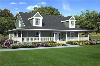 3-Bedroom, 1907 Sq Ft Country House Plan - 131-1037 - Front Exterior