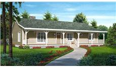 This is the front elevation for these Country Ranch House Plans.