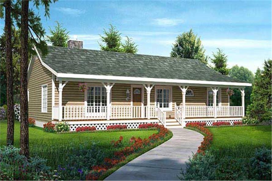 Delightful #131 1047 · This Is The Front Elevation For These Country Ranch House Plans.