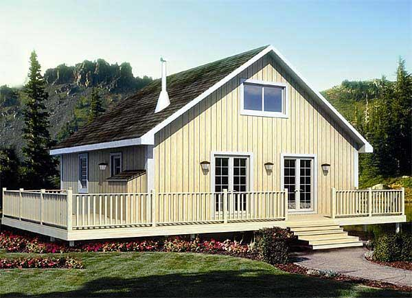 This is the front elevation for these Cabin House Plans.