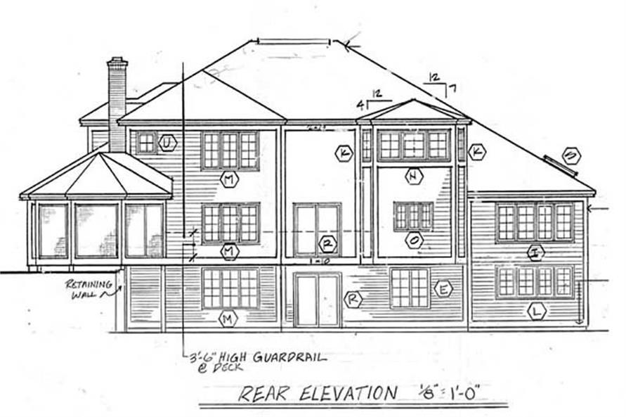 Home Plan Rear Elevation of this 1-Bedroom,3276 Sq Ft Plan -131-1050