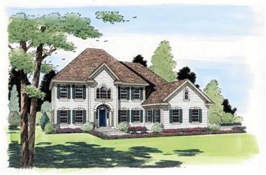 3-Bedroom, 3023 Sq Ft Colonial Home Plan - 131-1053 - Main Exterior