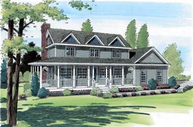 3-Bedroom, 2356 Sq Ft Country Home Plan - 131-1056 - Main Exterior