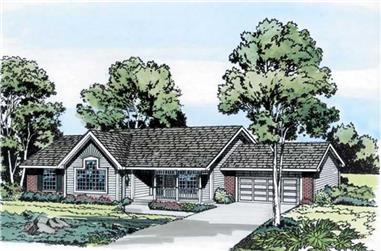 3-Bedroom, 1737 Sq Ft Ranch House Plan - 131-1058 - Front Exterior