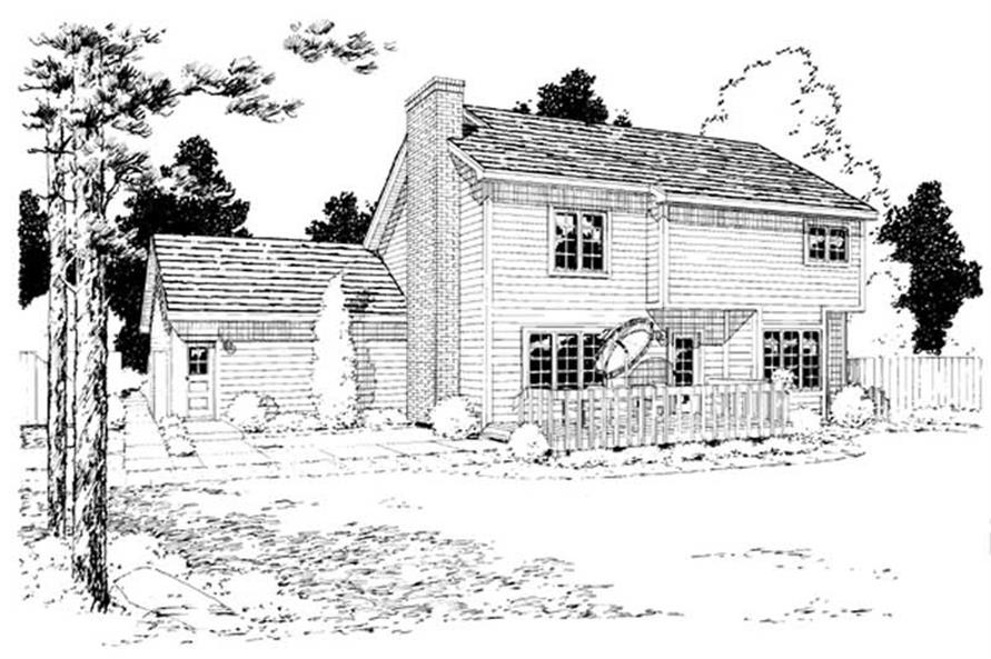 Home Plan Rear Elevation of this 3-Bedroom,1894 Sq Ft Plan -131-1065