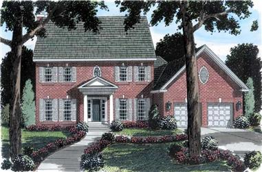 4-Bedroom, 2768 Sq Ft Colonial Home Plan - 131-1066 - Main Exterior
