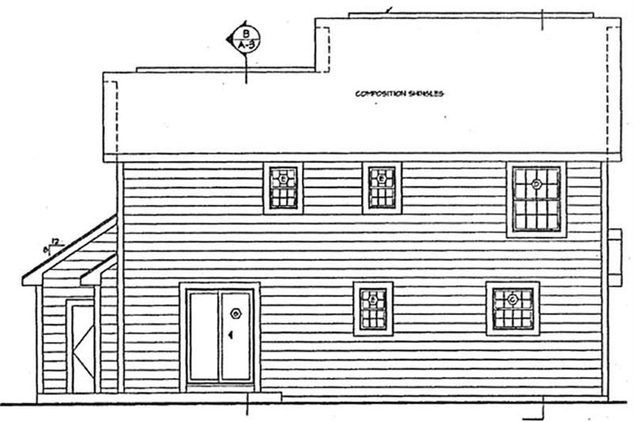 Home Plan Rear Elevation of this 4-Bedroom,1505 Sq Ft Plan -131-1068