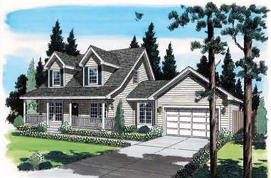 3-Bedroom, 1609 Sq Ft Cape Cod House Plan - 131-1077 - Front Exterior
