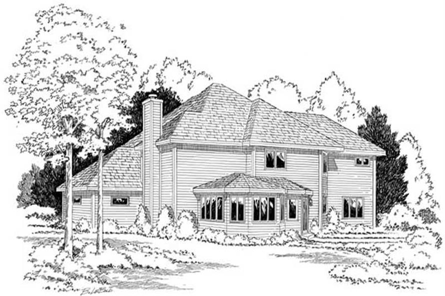 Home Plan Rear Elevation of this 3-Bedroom,2674 Sq Ft Plan -131-1082