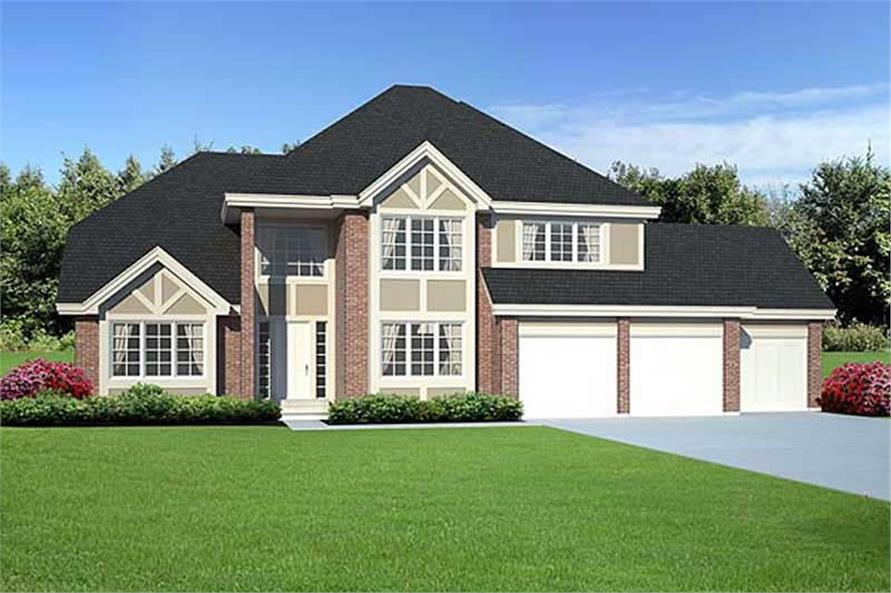 Home Plan Front Elevation of this 3-Bedroom,2674 Sq Ft Plan -131-1082