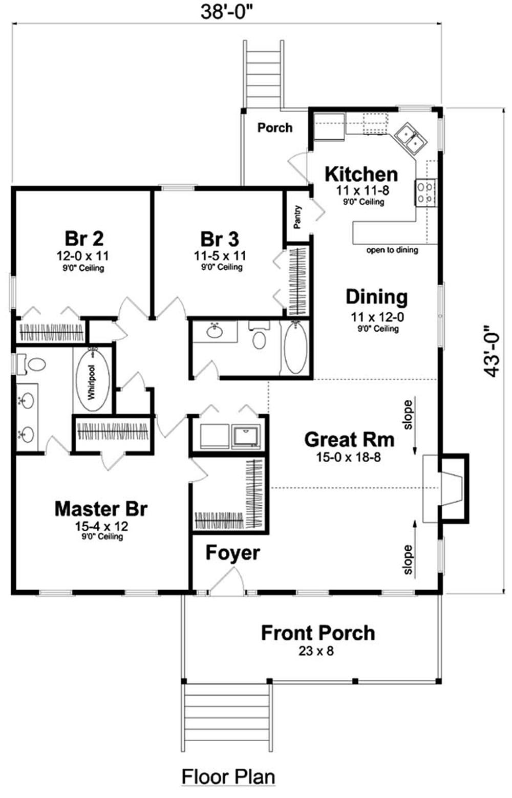 house plan GAR-74003 first floor