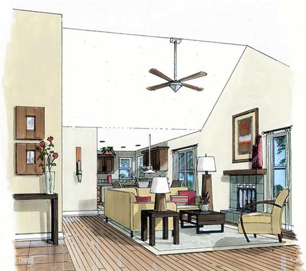 house plan GAR-74003 living room