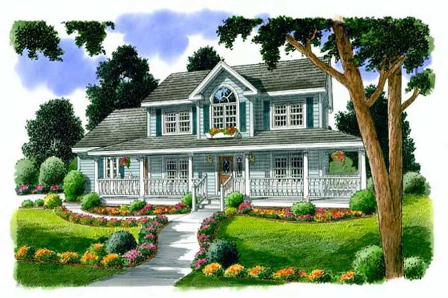 4-Bedroom, 2260 Sq Ft Country House Plan - 131-1088 - Front Exterior