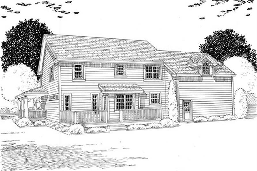 Home Plan Rear Elevation of this 4-Bedroom,2260 Sq Ft Plan -131-1088