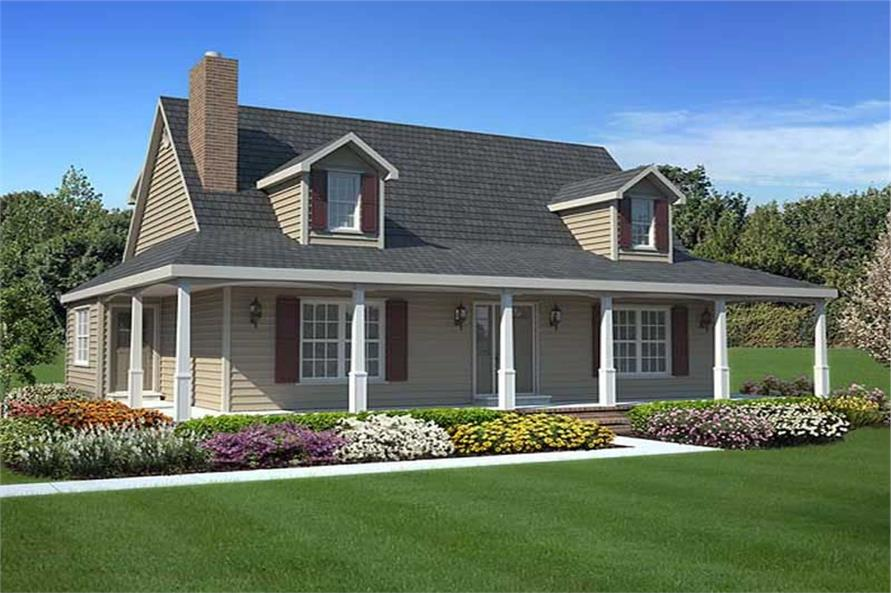Country, Cape Cod House Plans - Home Design GAR-34602 # 20165