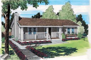 3-Bedroom, 1092 Sq Ft Country House Plan - 131-1101 - Front Exterior