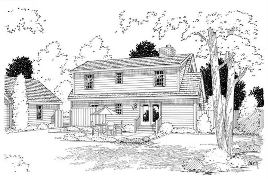 Home Plan Rear Elevation of this 3-Bedroom,1560 Sq Ft Plan -131-1109