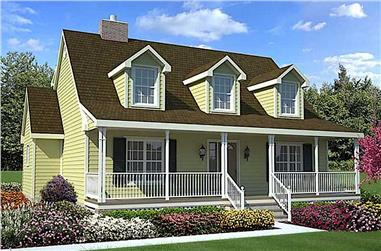 3-Bedroom, 1560 Sq Ft Cape Cod Home Plan - 131-1109 - Main Exterior