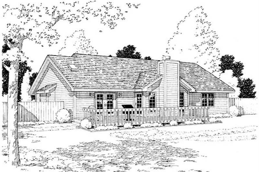 Home Plan Rear Elevation of this 1-Bedroom,1686 Sq Ft Plan -131-1112