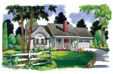 3-Bedroom, 1112 Sq Ft Country House Plan - 131-1121 - Front Exterior