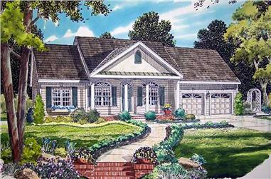 3-Bedroom, 1642 Sq Ft Colonial House Plan - 131-1134 - Front Exterior