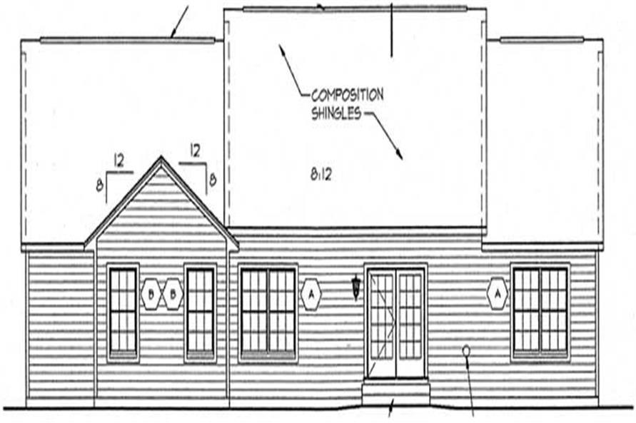 Home Plan Rear Elevation of this 3-Bedroom,1642 Sq Ft Plan -131-1134