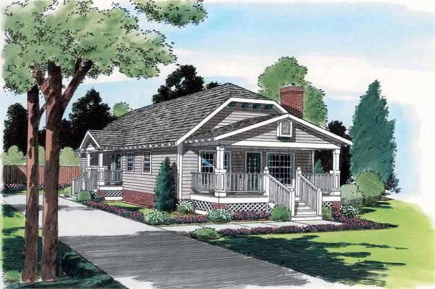 3-Bedroom, 1174 Sq Ft Bungalow Home Plan - 131-1136 - Main Exterior