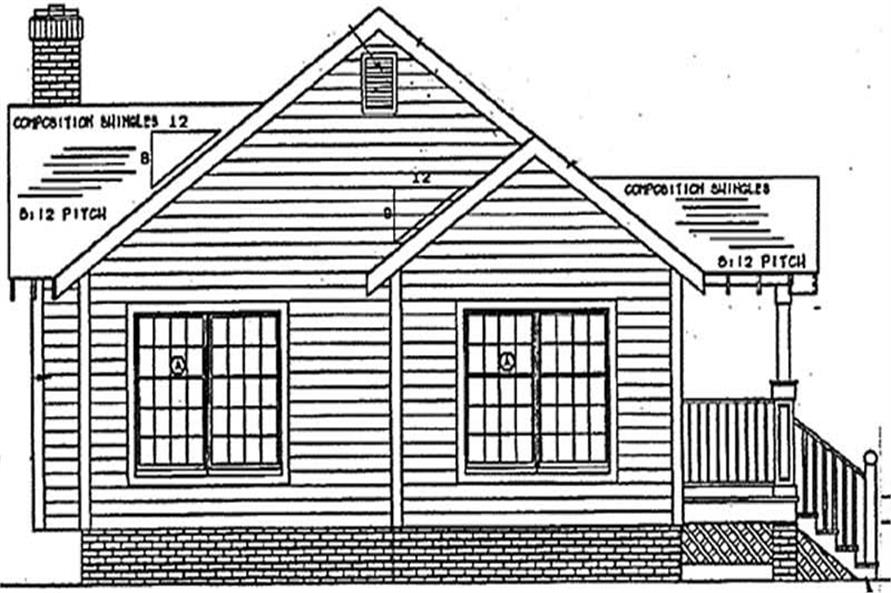 Home Plan Rear Elevation of this 3-Bedroom,1174 Sq Ft Plan -131-1136