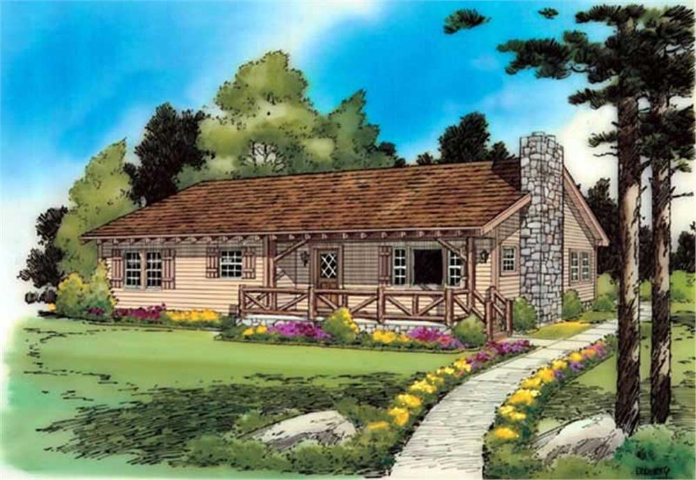 Front elevation of Ranch home (ThePlanCollection: House Plan #131-1138)