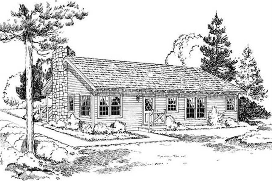 Home Plan Rear Elevation of this 3-Bedroom,1146 Sq Ft Plan -131-1138