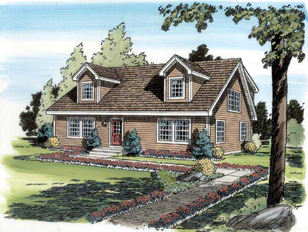 Cape cod house plan 4 bedrms 3 baths 1757 sq ft for Simple cape cod house plans