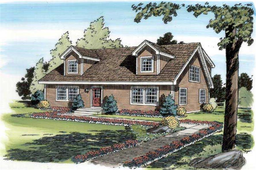 4-Bedroom, 1757 Sq Ft Cape Cod House Plan - 131-1143 - Front Exterior